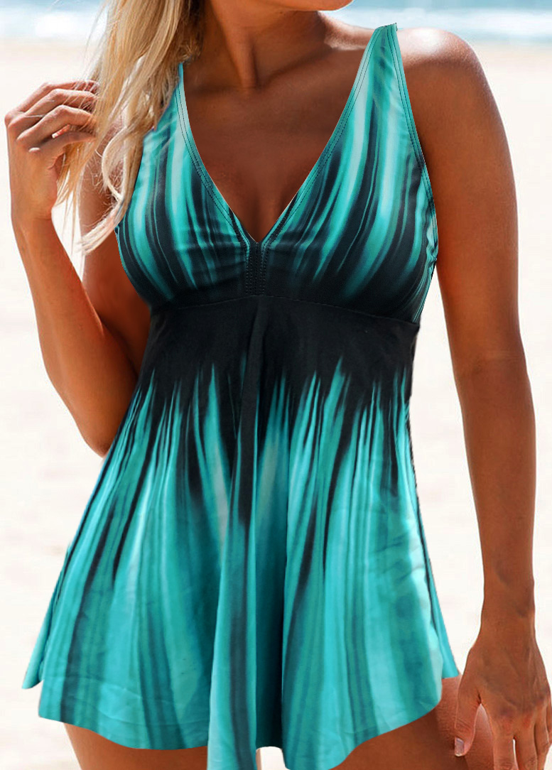 V Neck Printed Open Back Swimdress and Panty