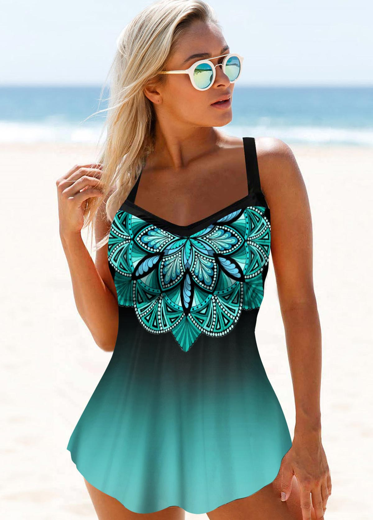 Hollow Back Printed Straps Swimdress and Panty