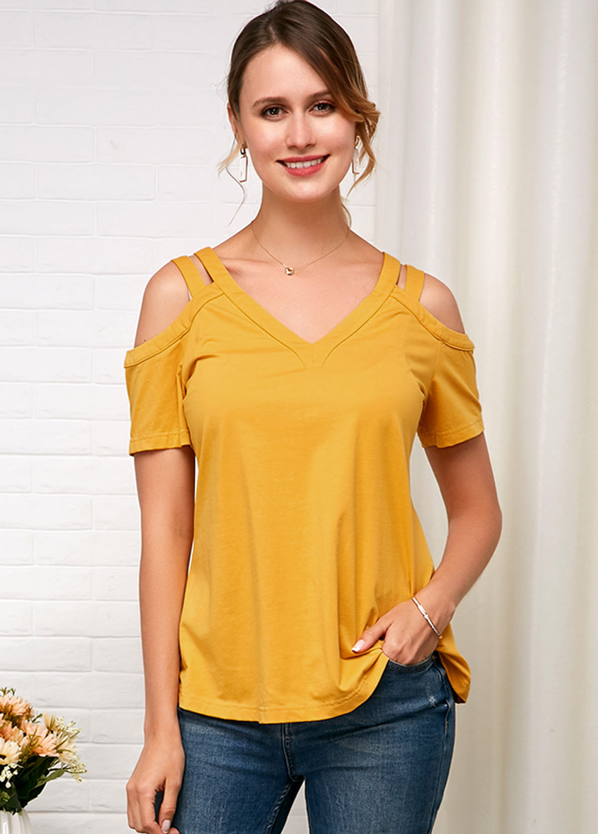 Cold Shoulder Yellow Short Sleeve Soft T Shirt