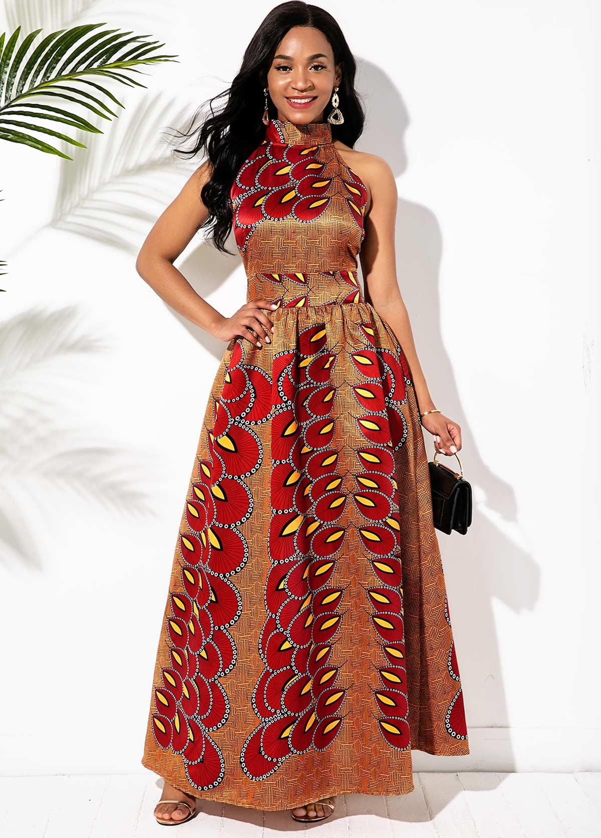 Bohemian Print Bowknot Back Bib Neck Maxi Dress
