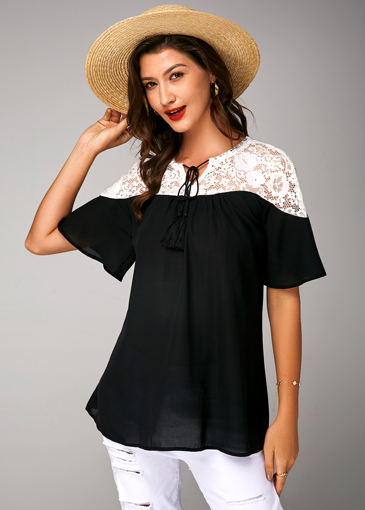 Lace Panel Short Sleeve Tie Neck Soft Blouse