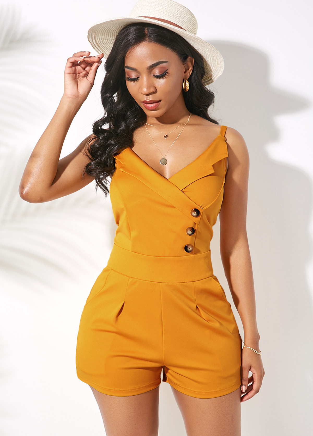 Button Detail Back Zipper Side Pocket Romper
