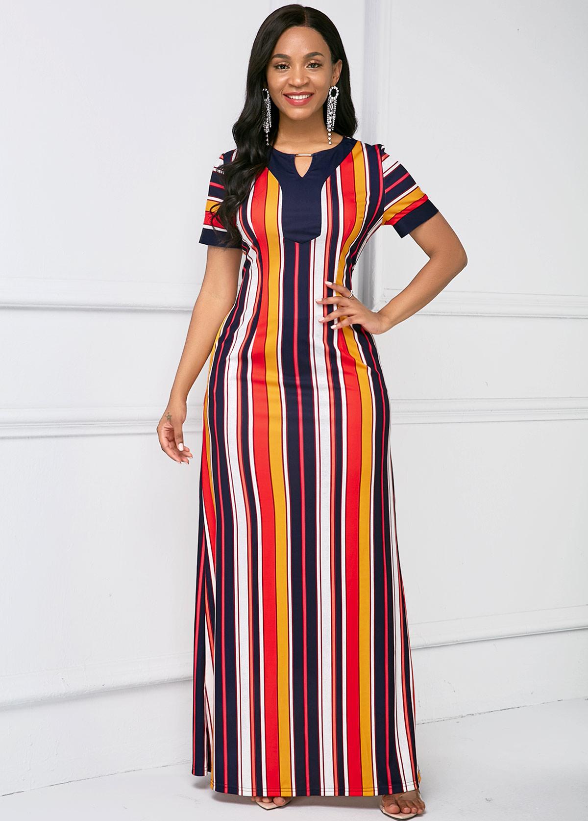 Stripe Print Short Sleeve Keyhole Neckline Maxi Dress