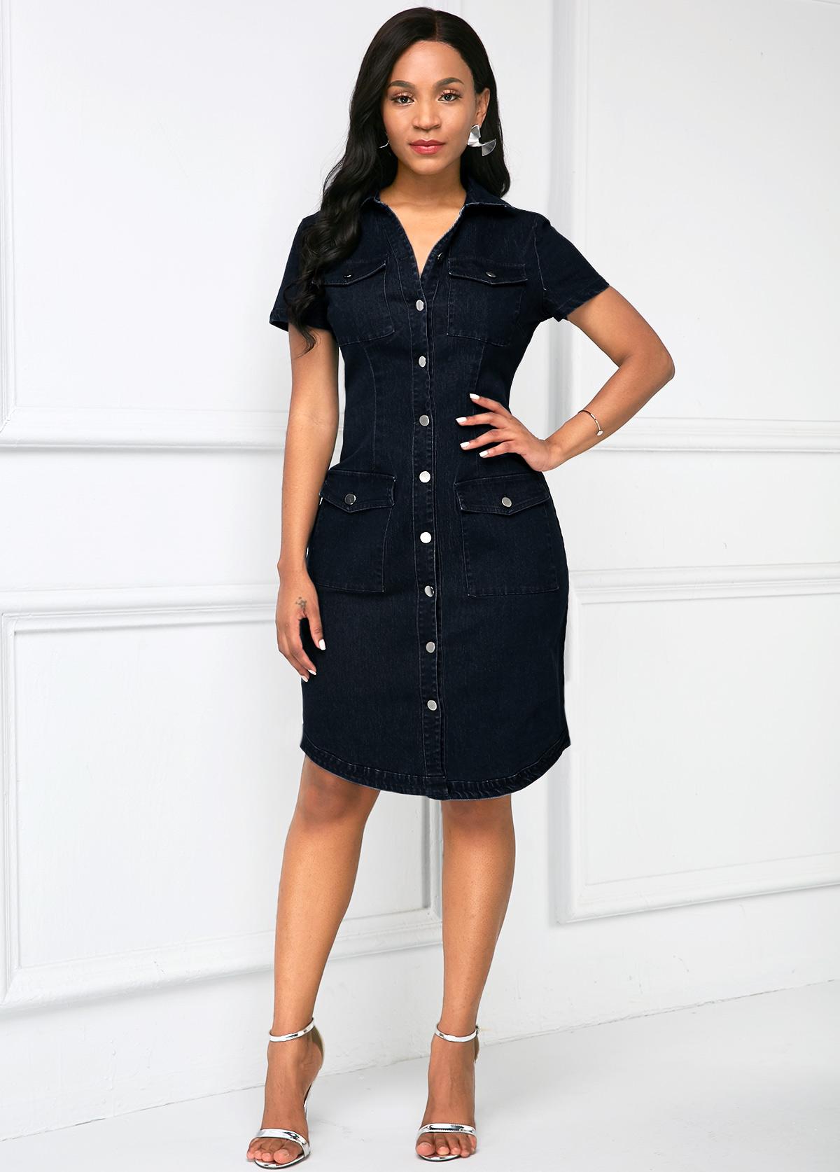 Button Up Chest Pocket Denim Dress