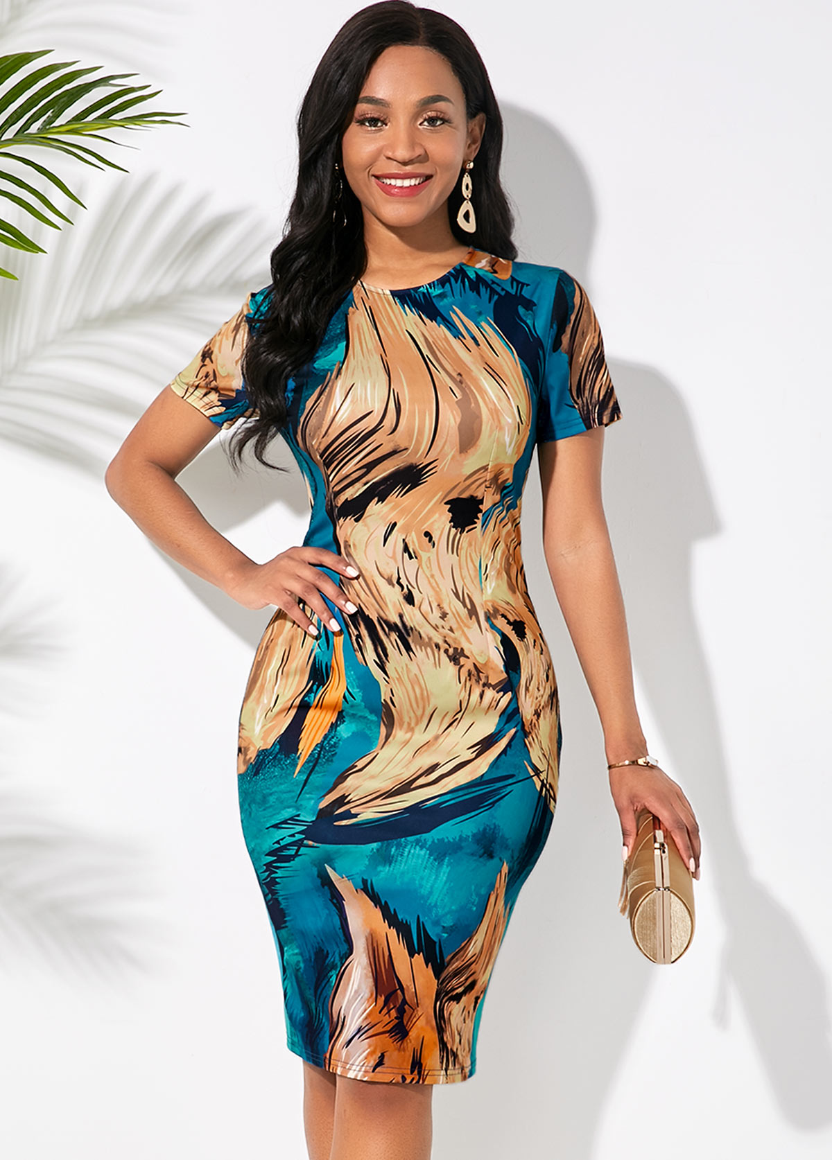 Abstract Print Round Neck Short Sleeve Dress