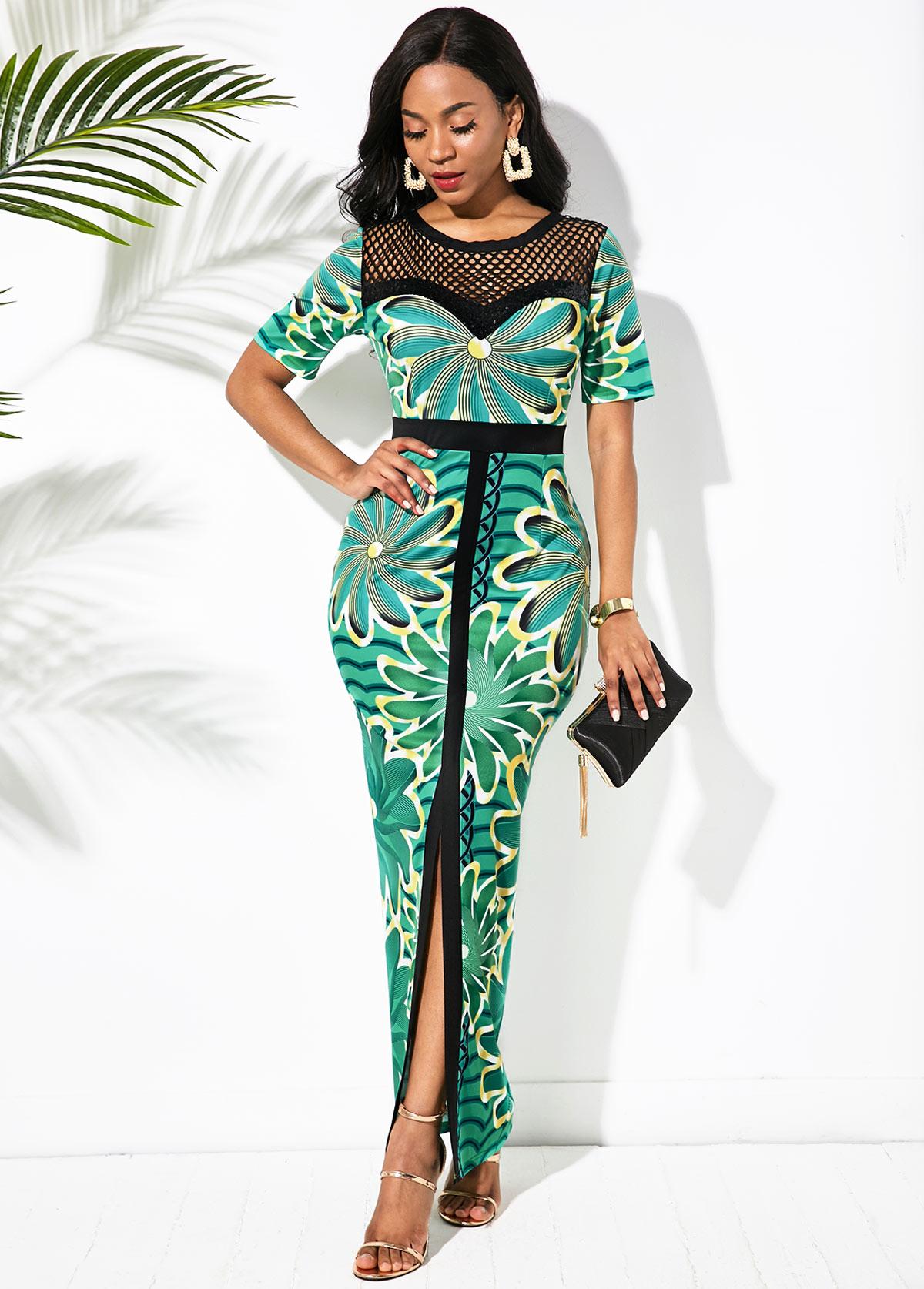 Mesh Panel Front Slit Printed Maxi Dress