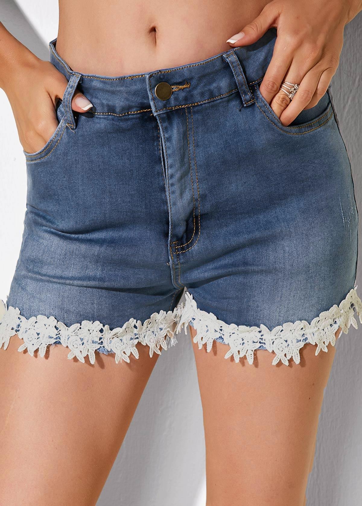 Lace Trim Slant Pocket Denim Shorts