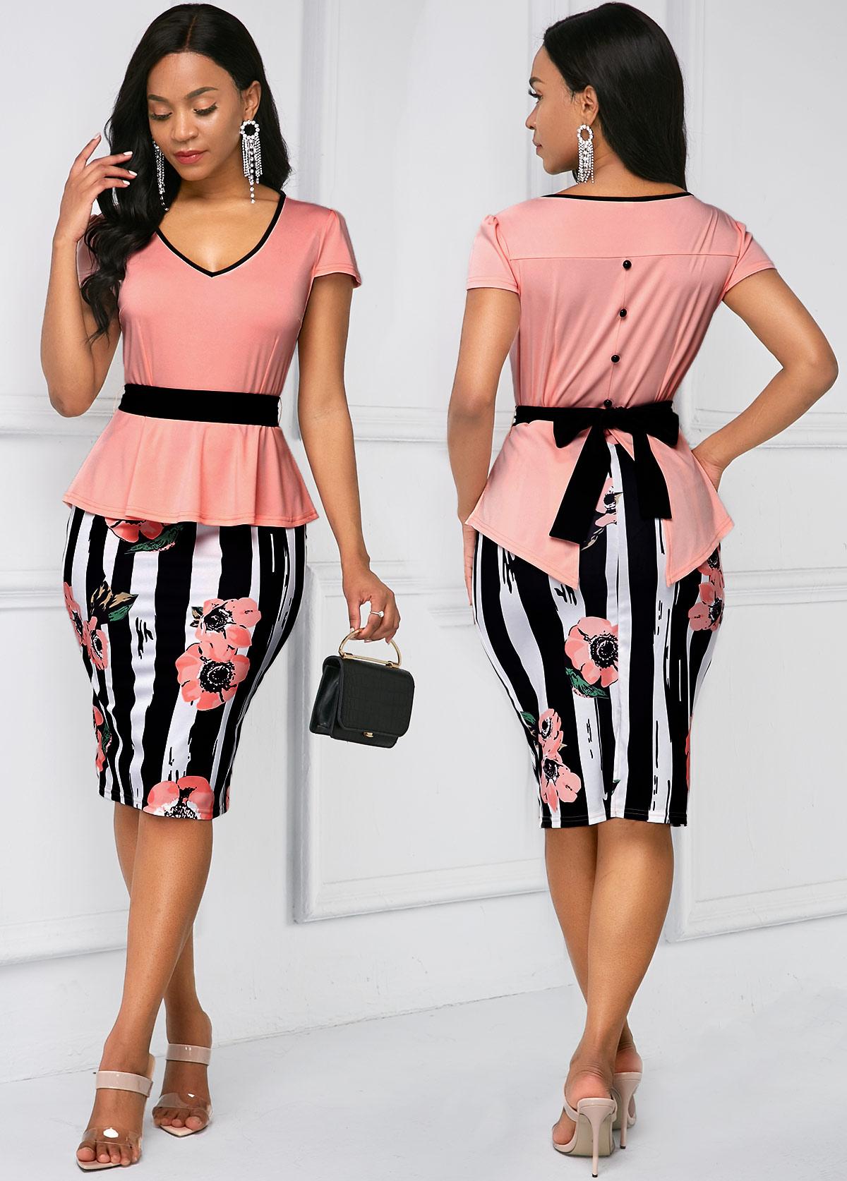 Belted Cap Sleeve Stripe Print Dress