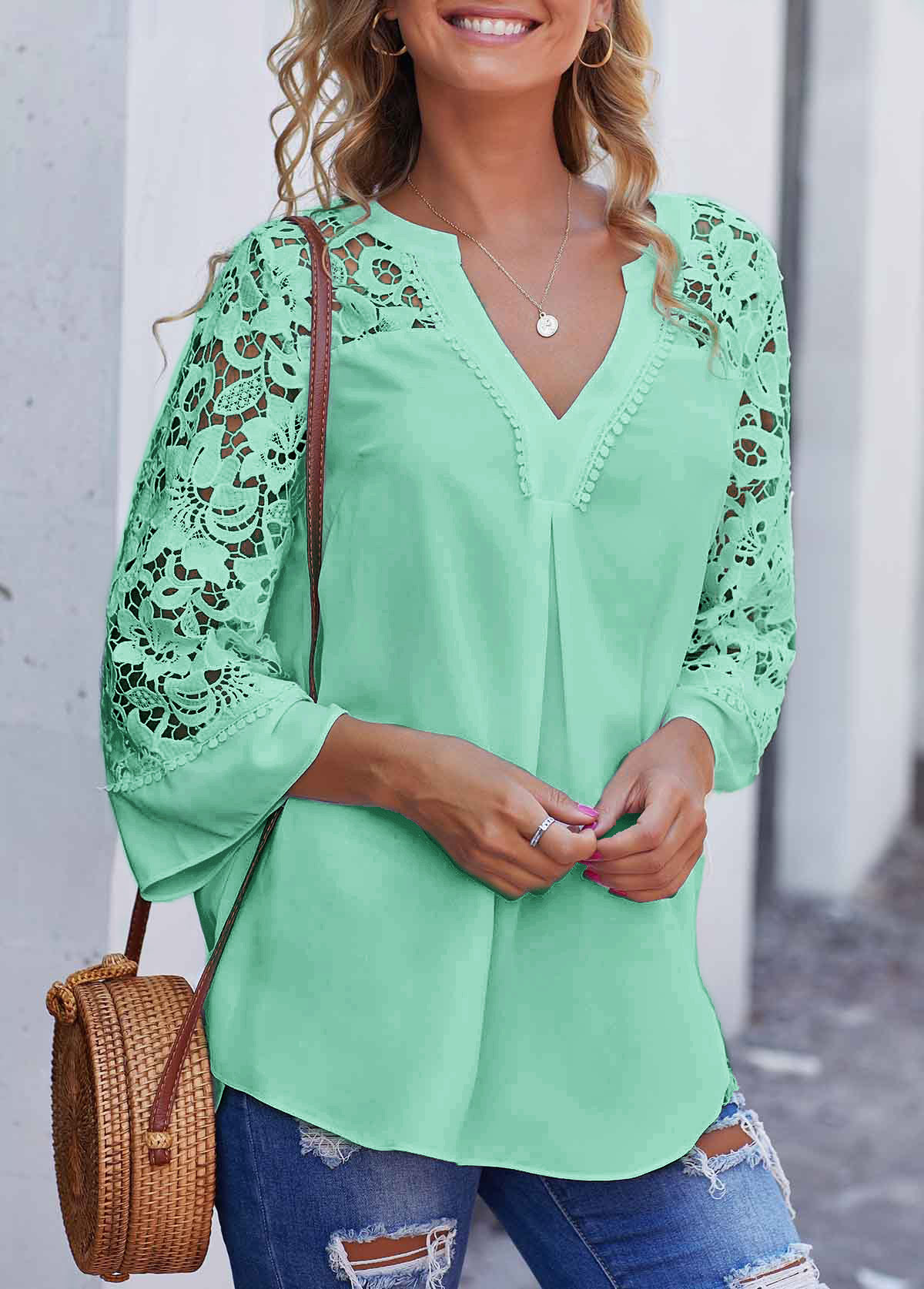 Split Neck Lace Stitching Mint Green Blouse