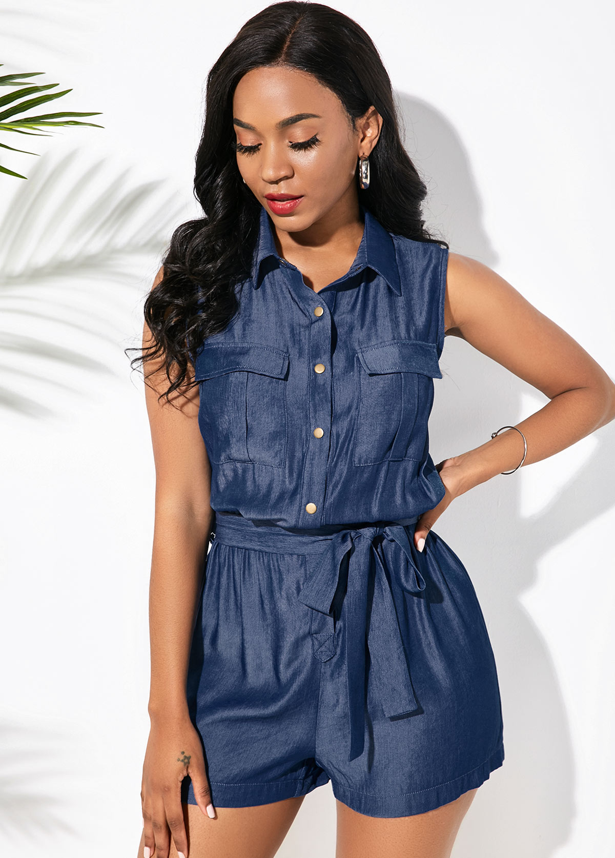 Button Up Faux Denim Belted Romper