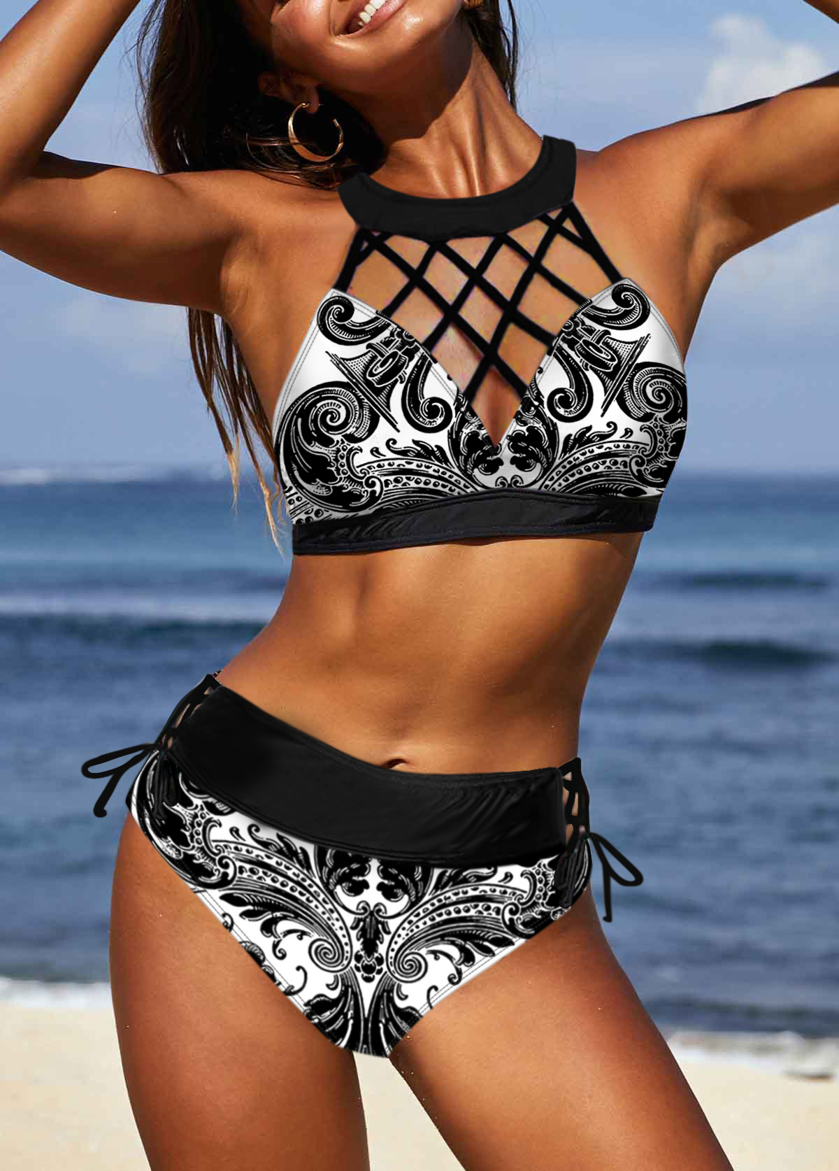 Tribal Print Black Cross Strap Bikini Set