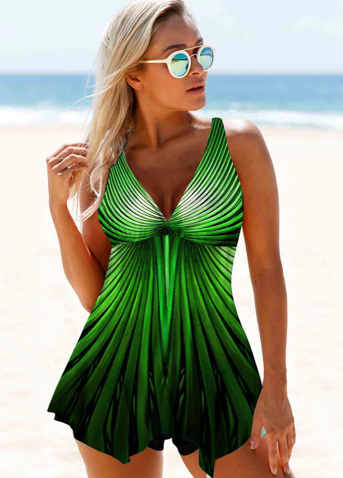 Wide Strap Printed Green Swimdress and Shorts