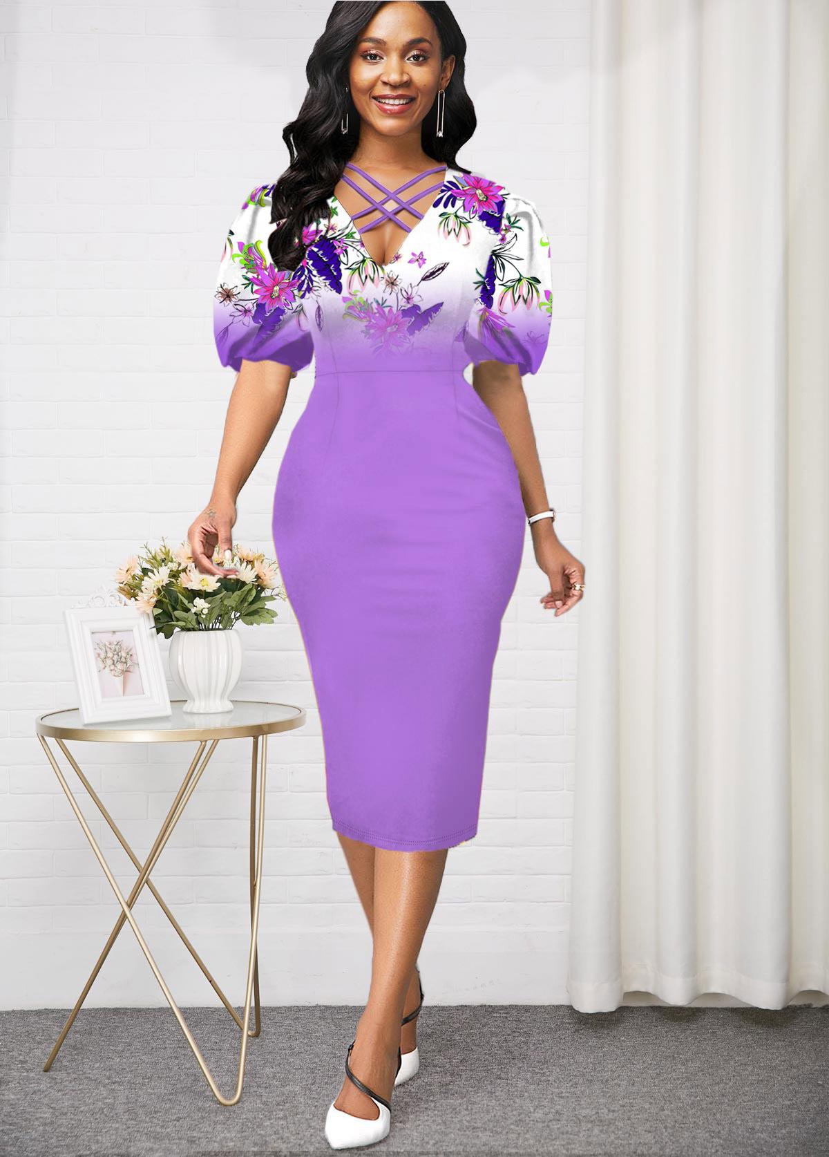 lilac Purple Puff Sleeve High Waist Dress