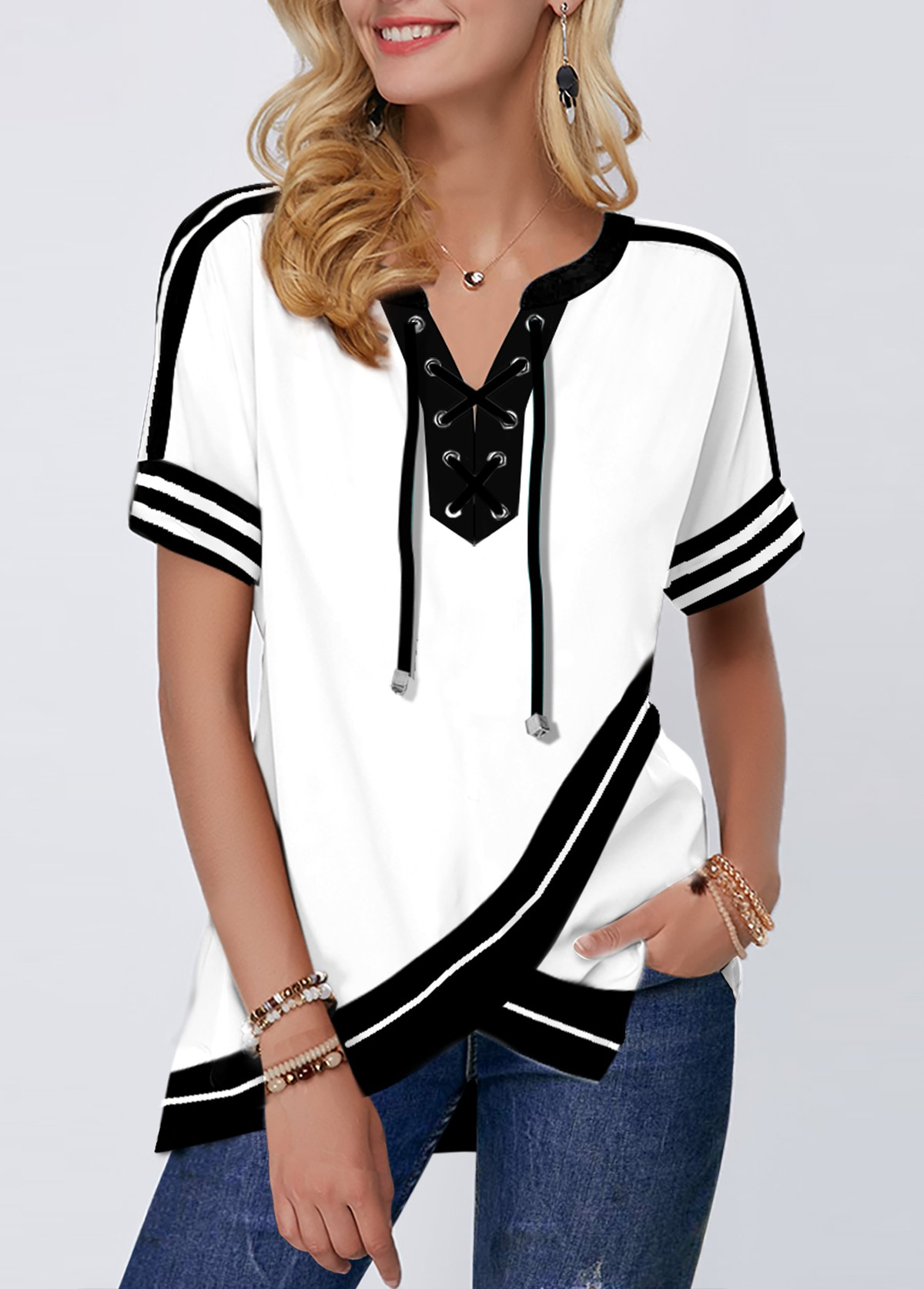 Crossover Hem Lace Up Color Block Short Sleeve Blouse