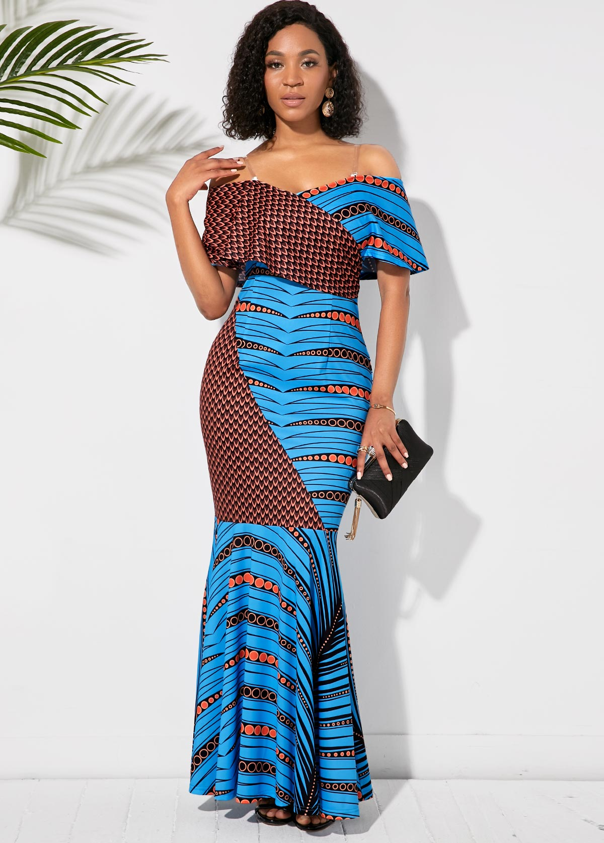 Off the Shoulder Printed Half Sleeve Maxi Dress