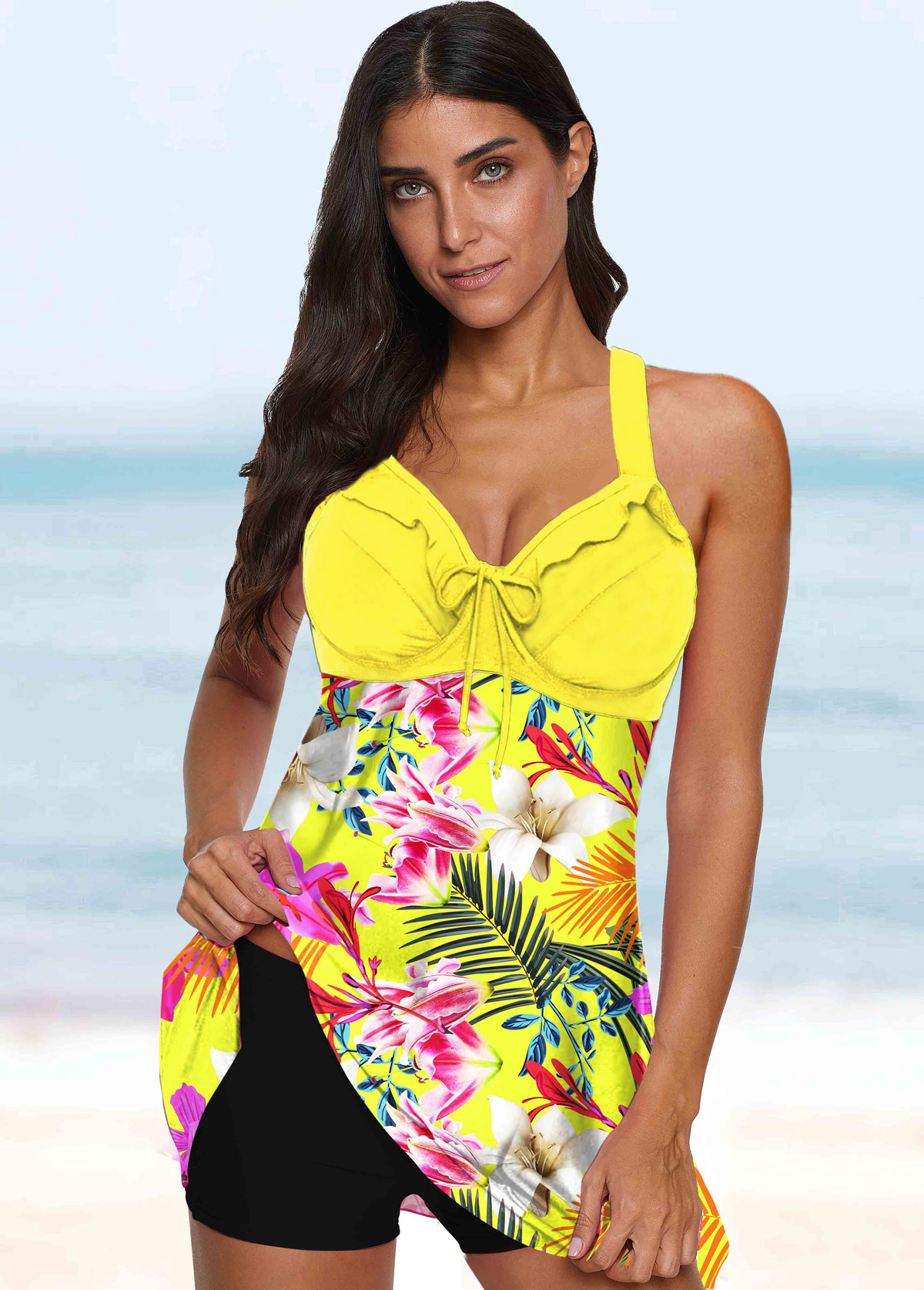 Floral Print Tie Front Spaghetti Strap Swimdress