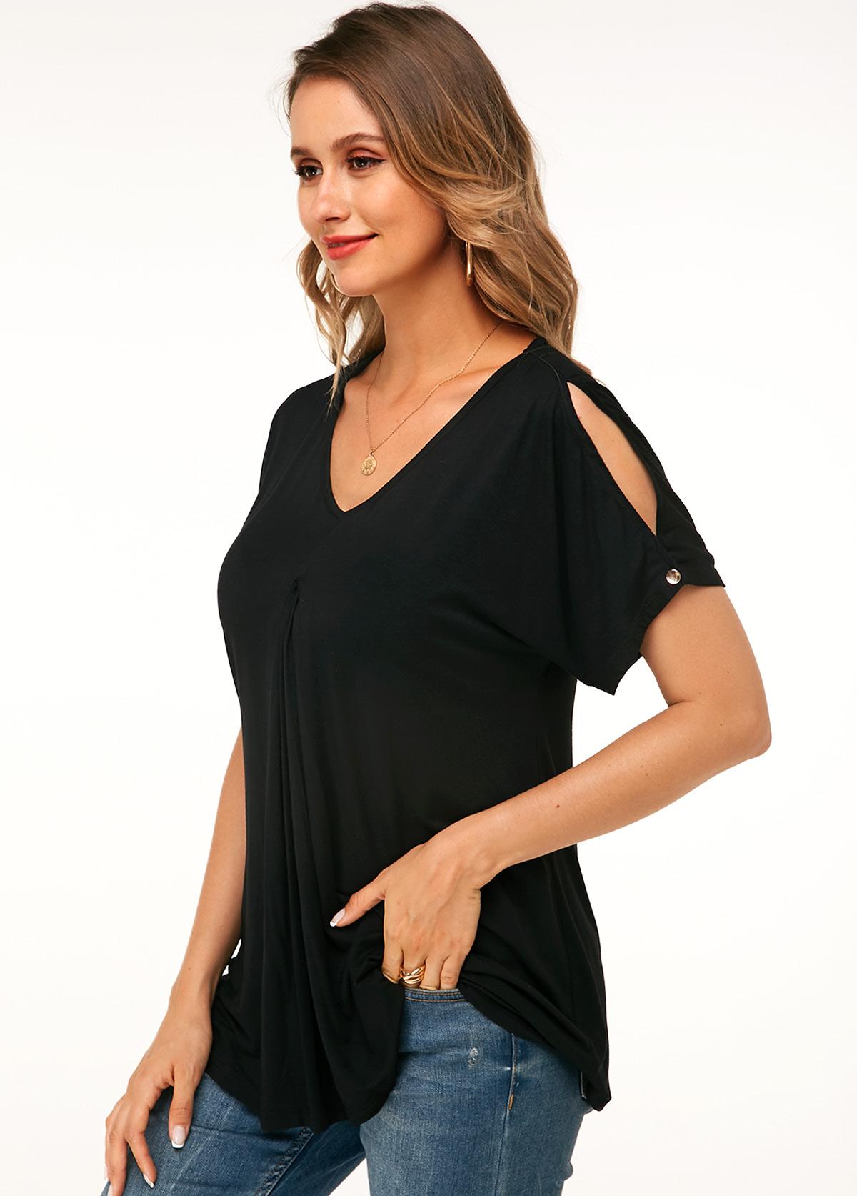 Black Casual V Neck Cold Shoulder T Shirt