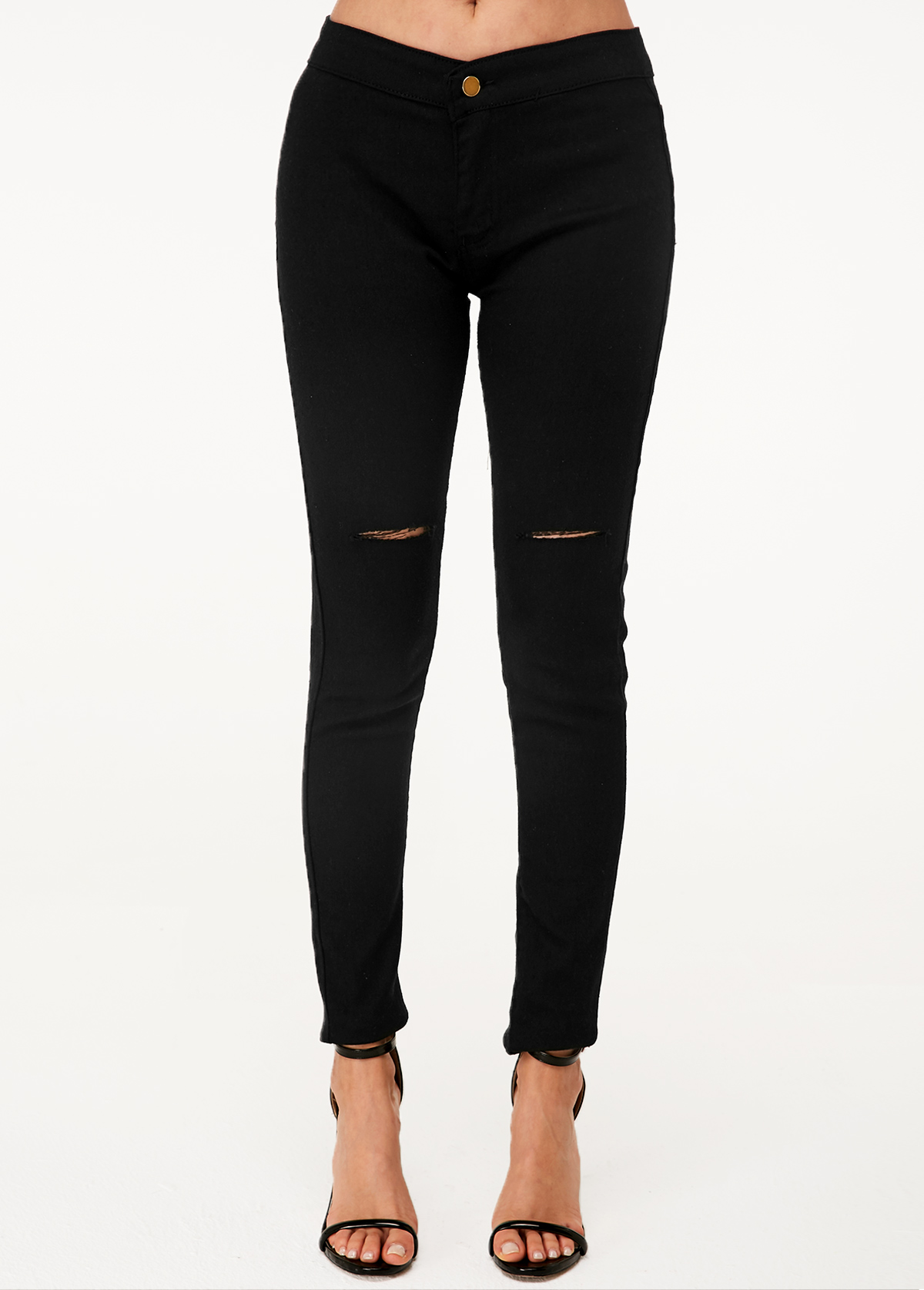 Shredded Black High Waist Skinny Jeans