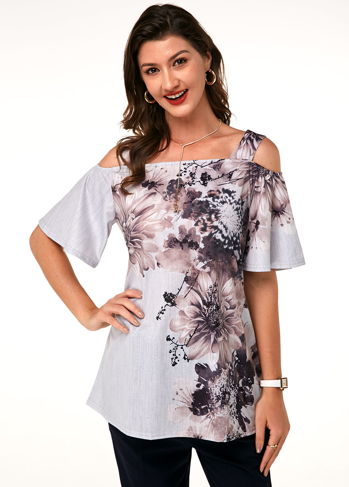 Strappy Cold Shoulder Printed T Shirt