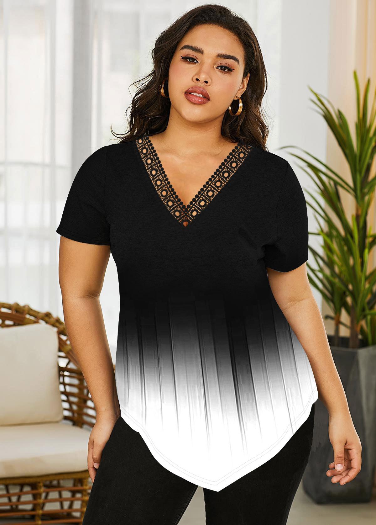 Plus Size Asymmetric Hem Lace Trim Gradient T Shirt