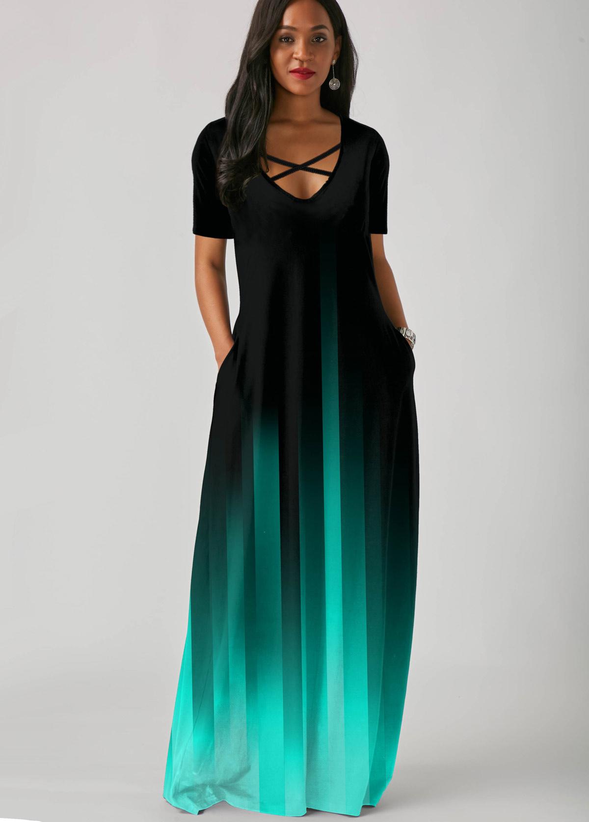 Mint Green Gradient Side Pocket Short Sleeve Maxi Dress