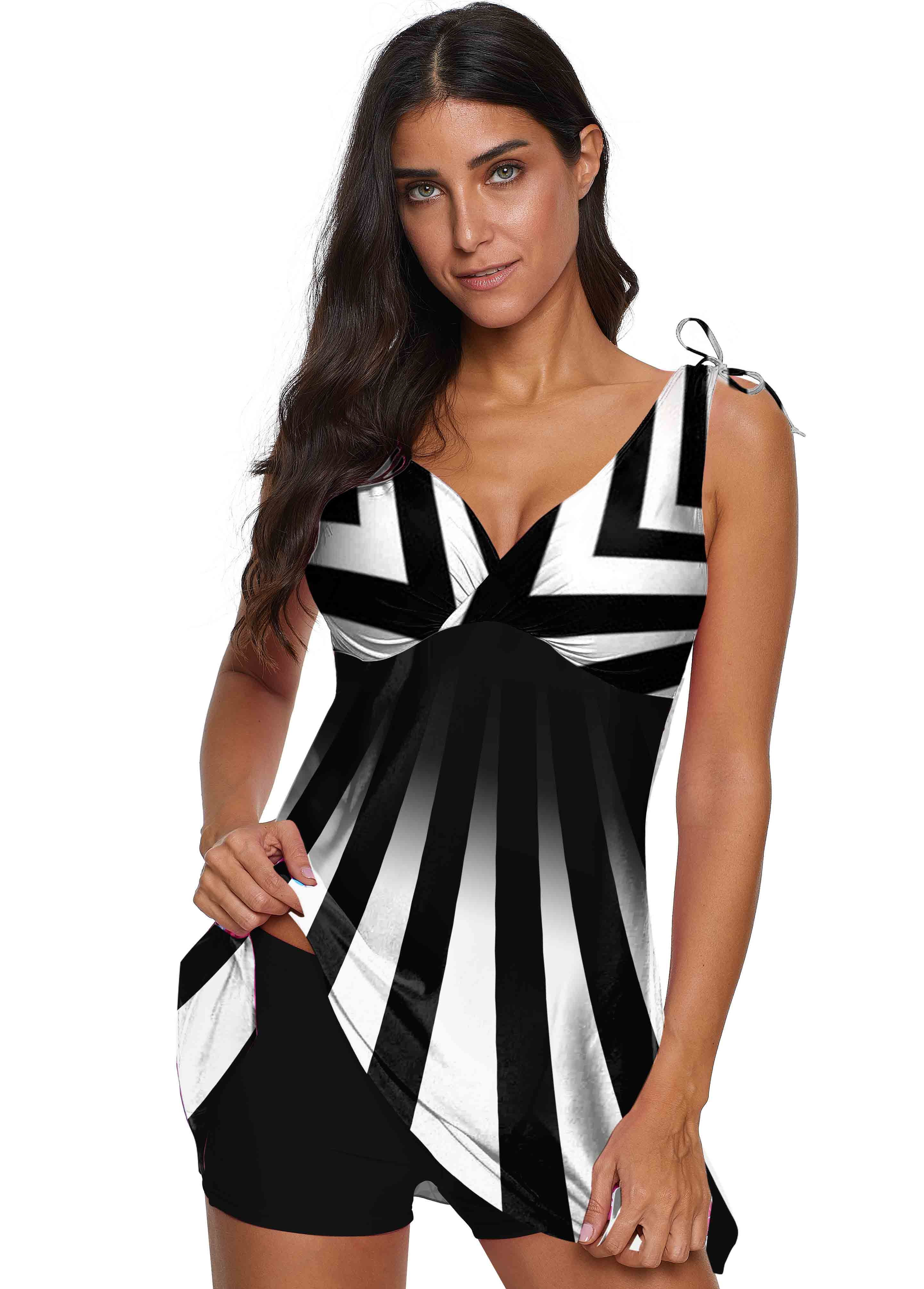 V Neck Wide Strap Striped Swimdress and Shorts
