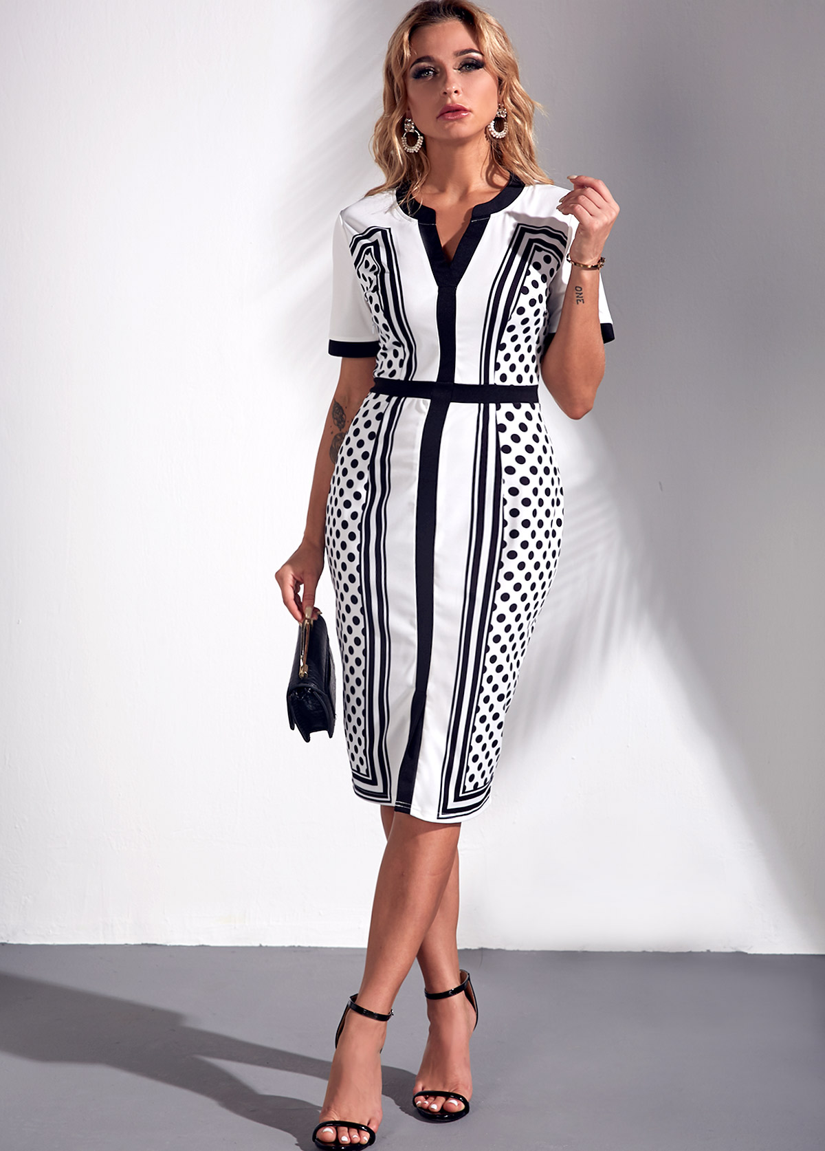 Color Block Split Neck Square Dot Print Dress