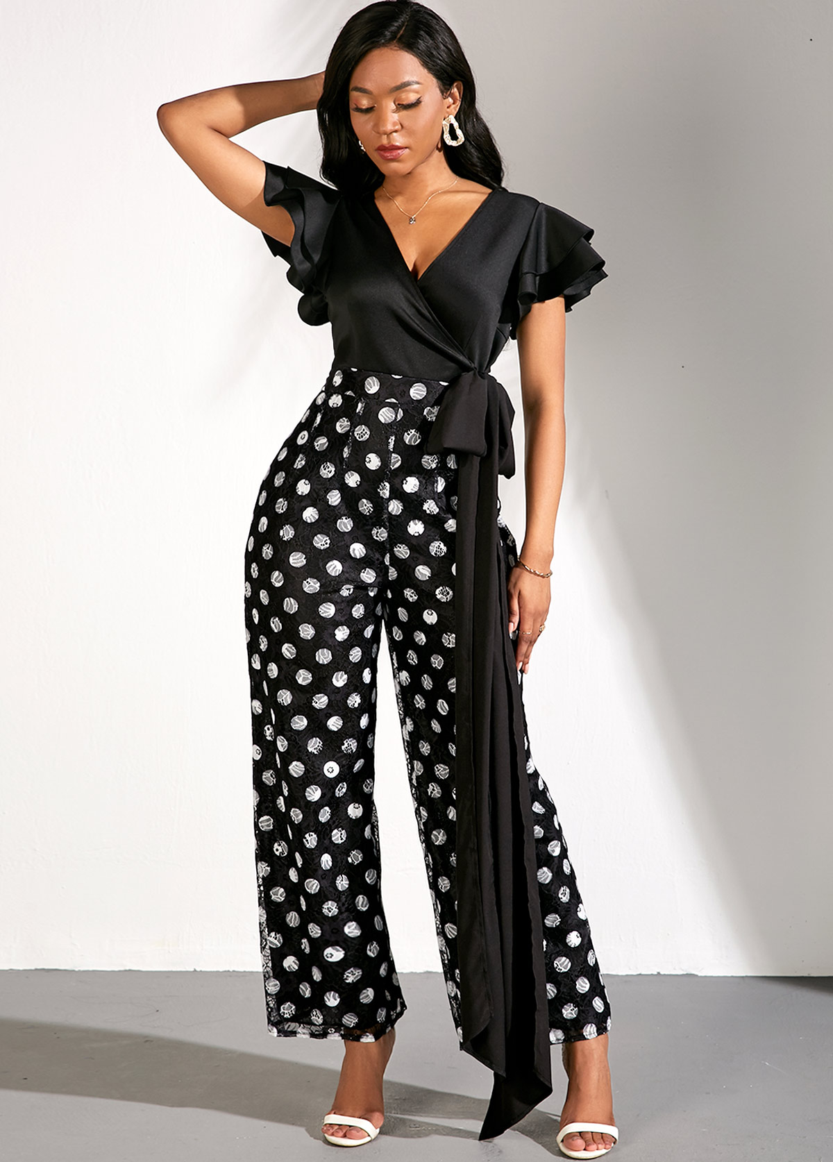 Flare Sleeve Bowknot V Neck Lace Polka Dot Print Jumpsuit