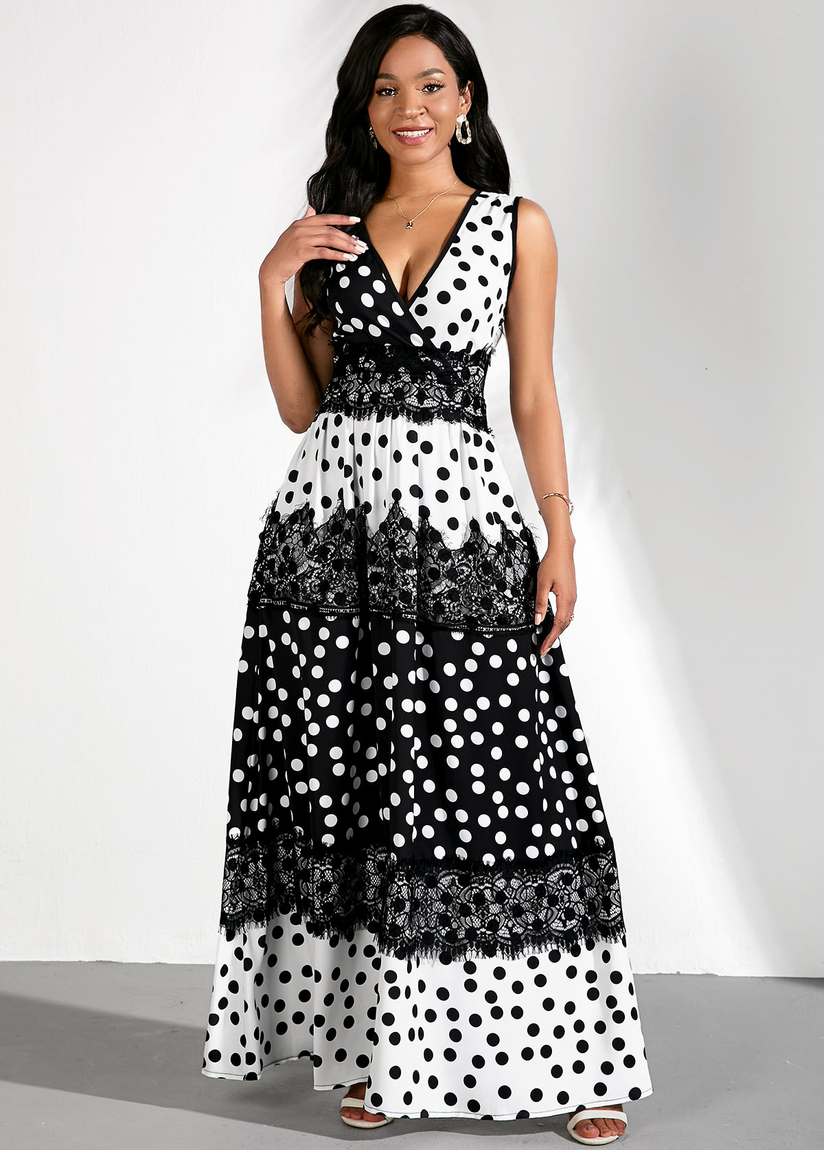 Polka Dots Color Block Lace Panel Dress