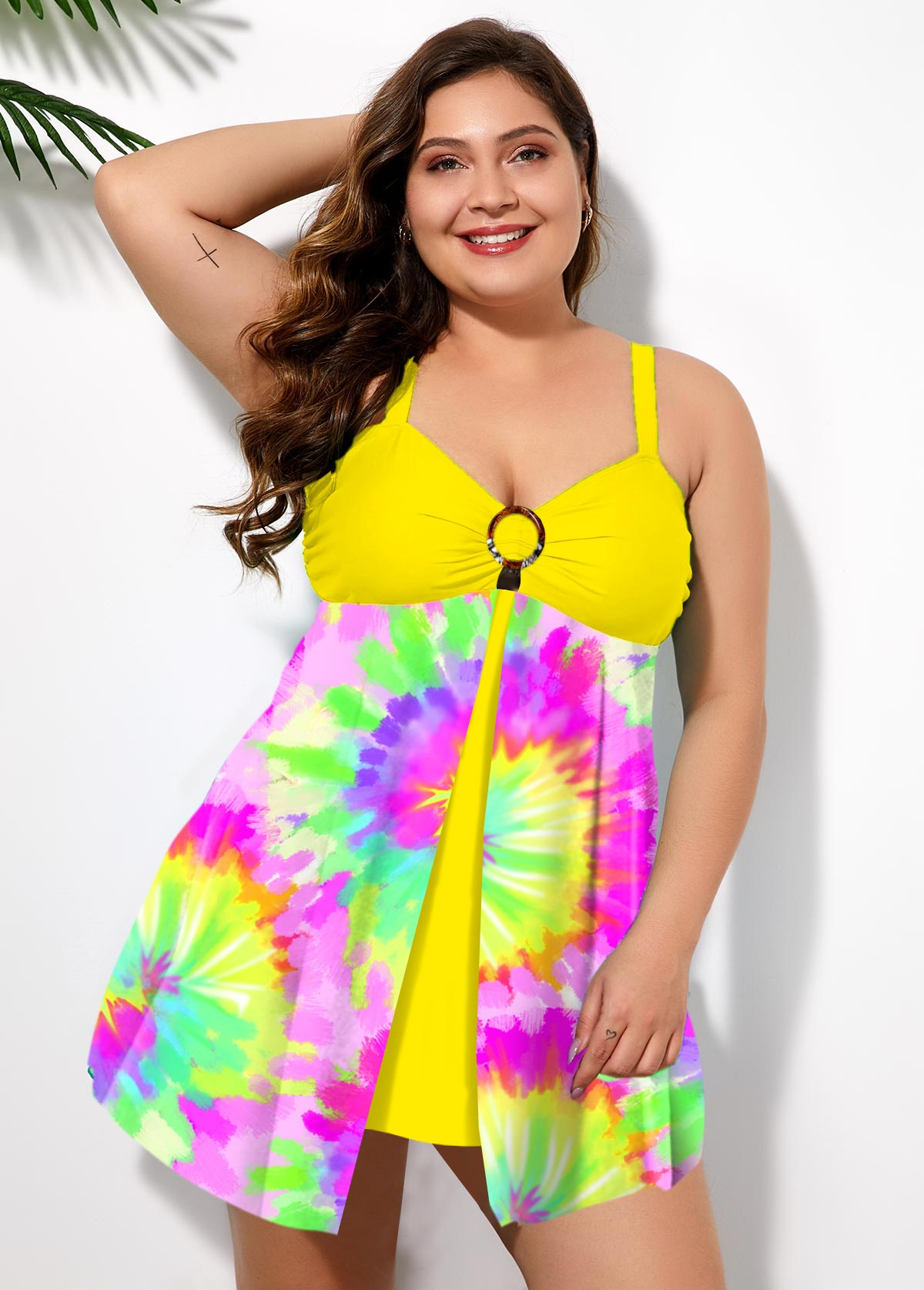 Plus Size Multi Color Tie Dye Swimdress and Panty