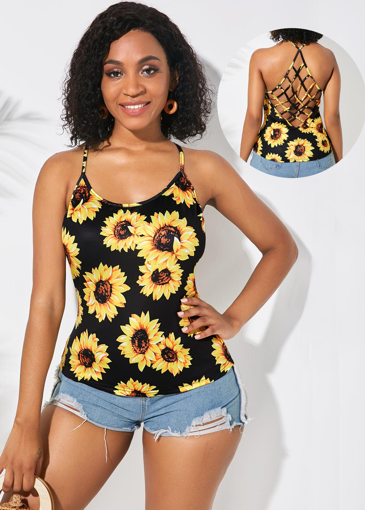 Spaghetti Strap Sunflower Print Lattice Back Camisole Top