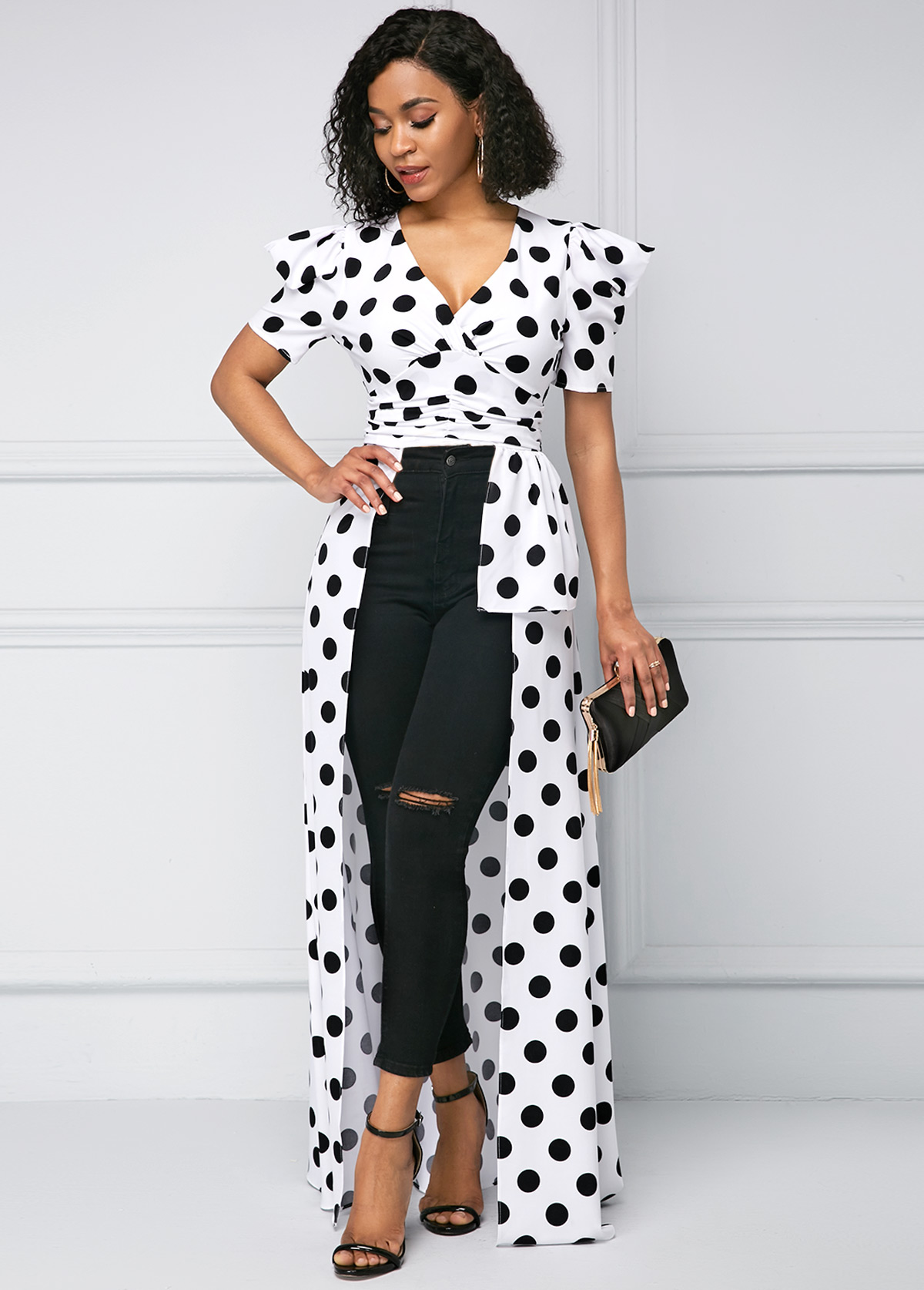 Polka Dot Asymmetric Hem Puff Sleeve T Shirt