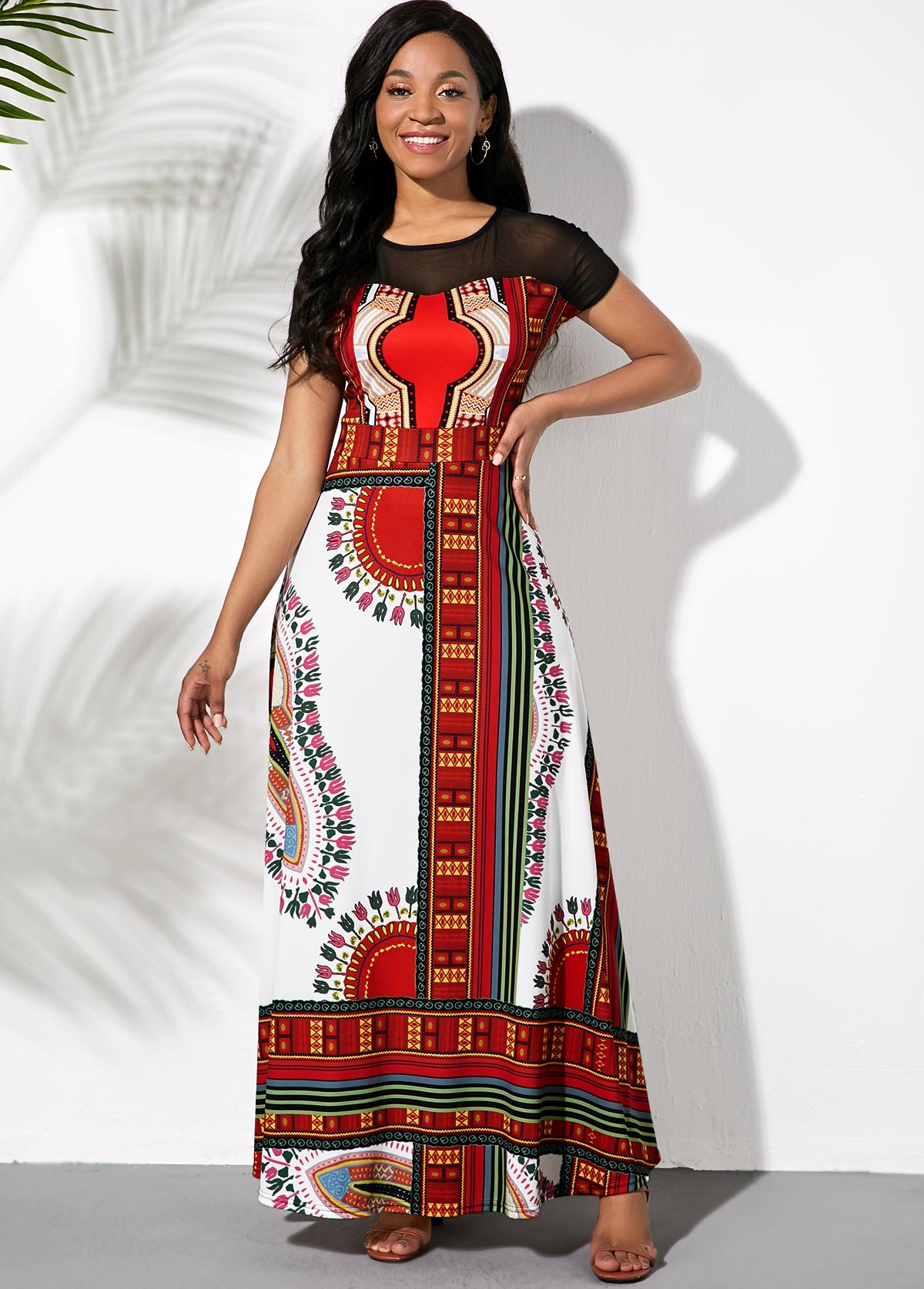 Tribal Print Short Sleeve Maxi Dress