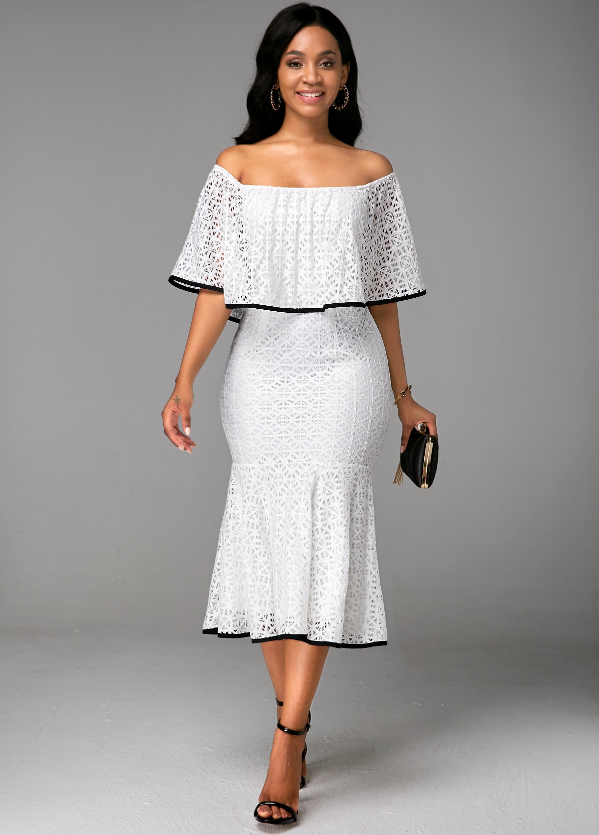 Ruffle Overlay Boat Neck White Lace Dress