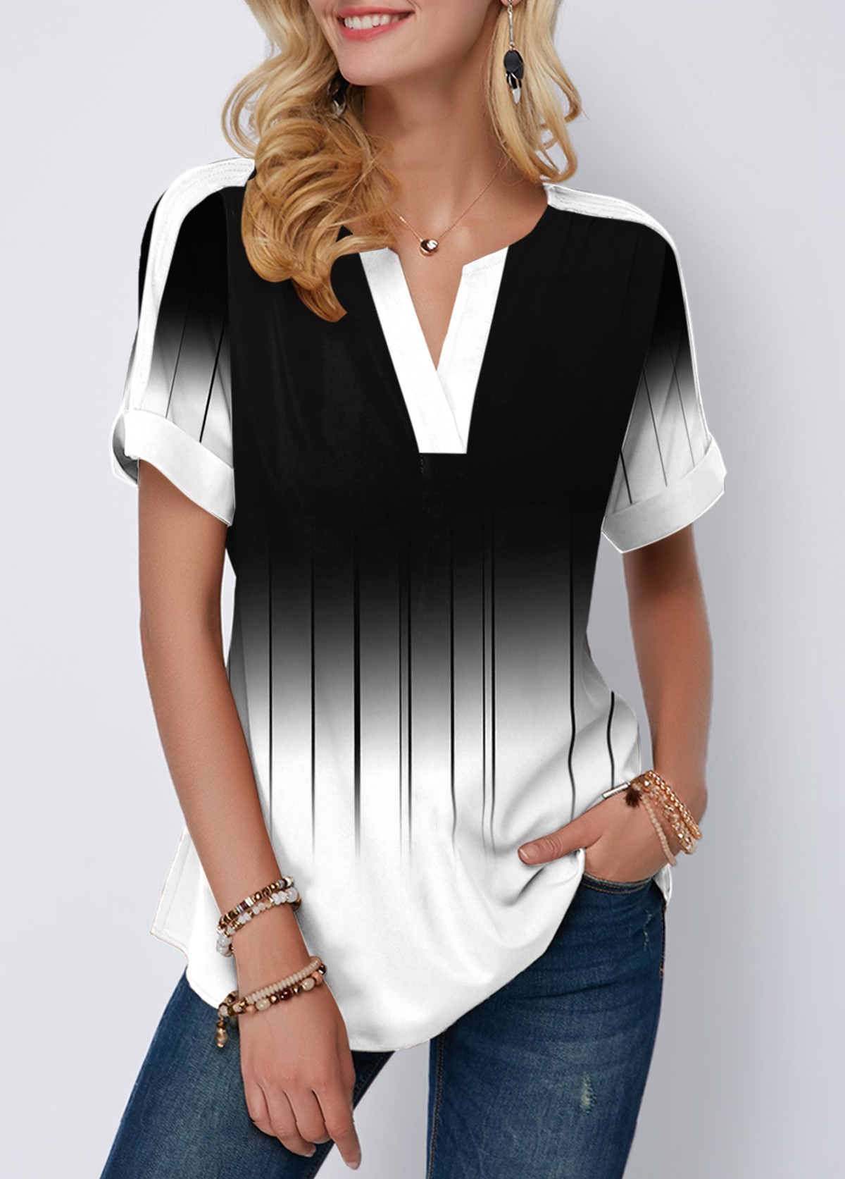 Color Block Short Sleeve Printed Blouse