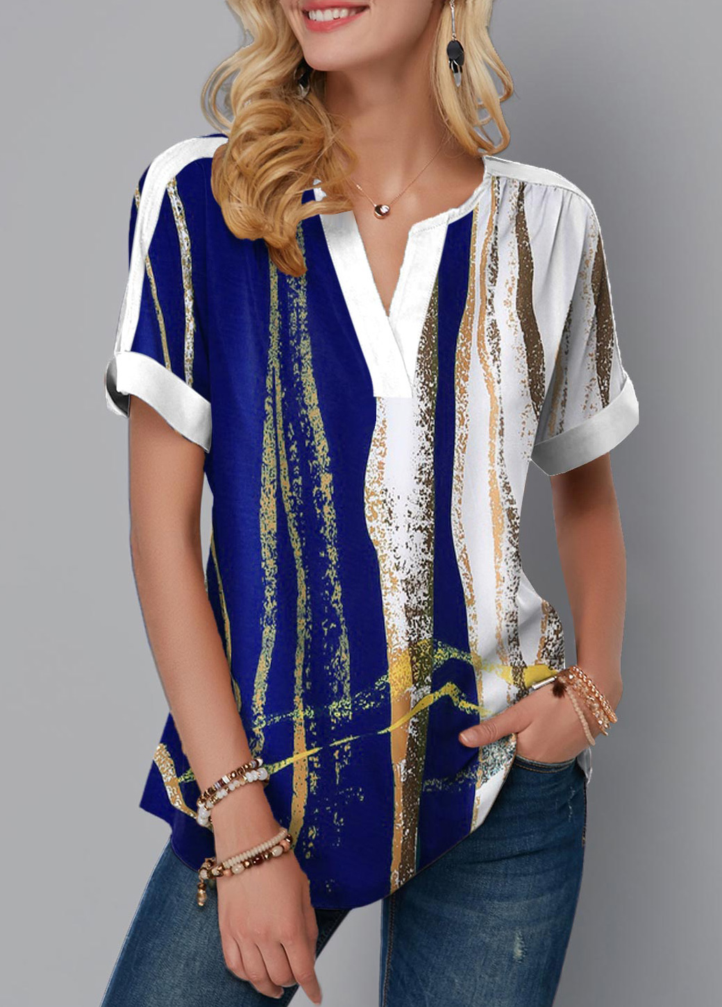 Geometric Print Split Neck Short Sleeve Blouse