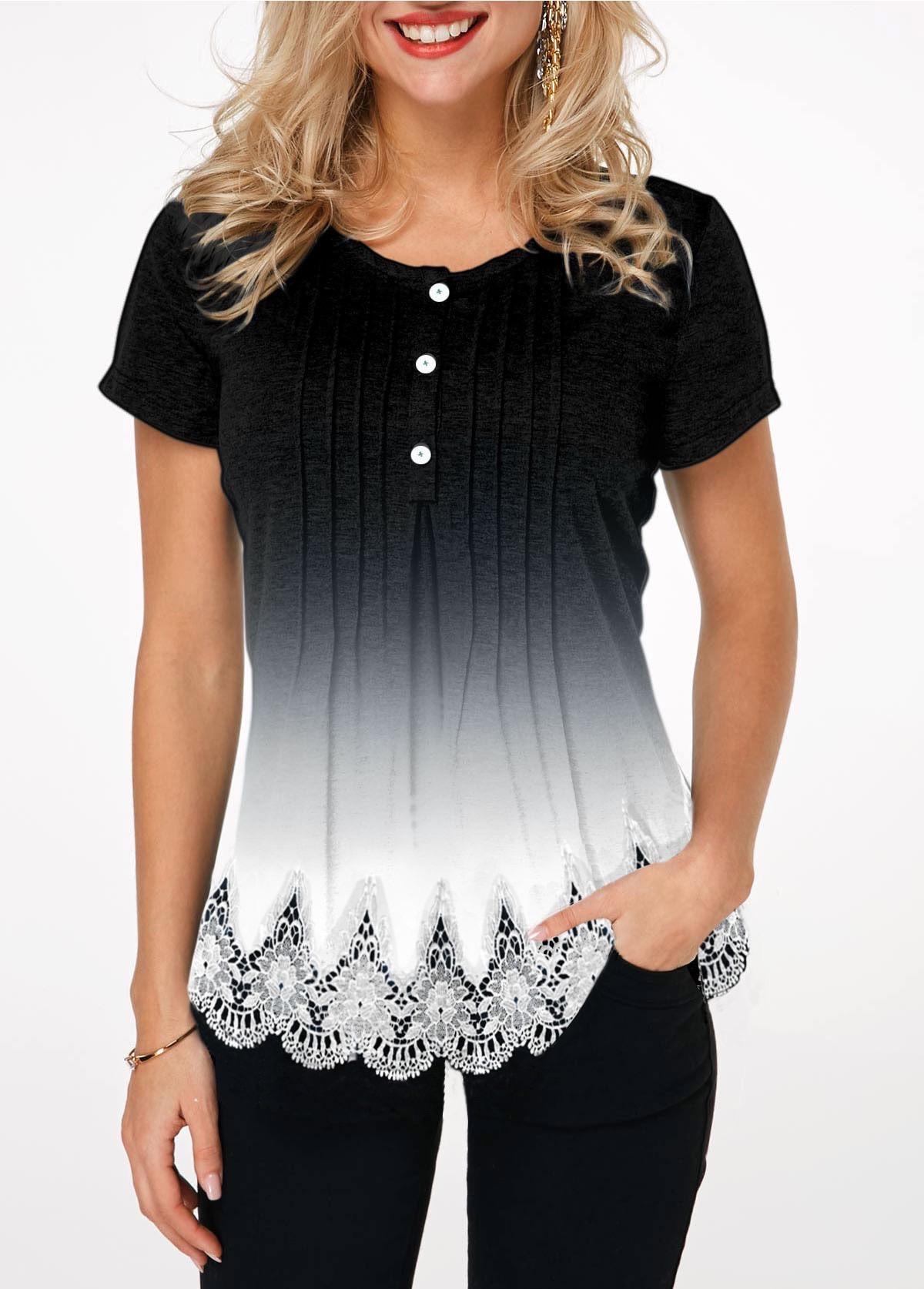 Gradient Lace Hem Button Detail T Shirt