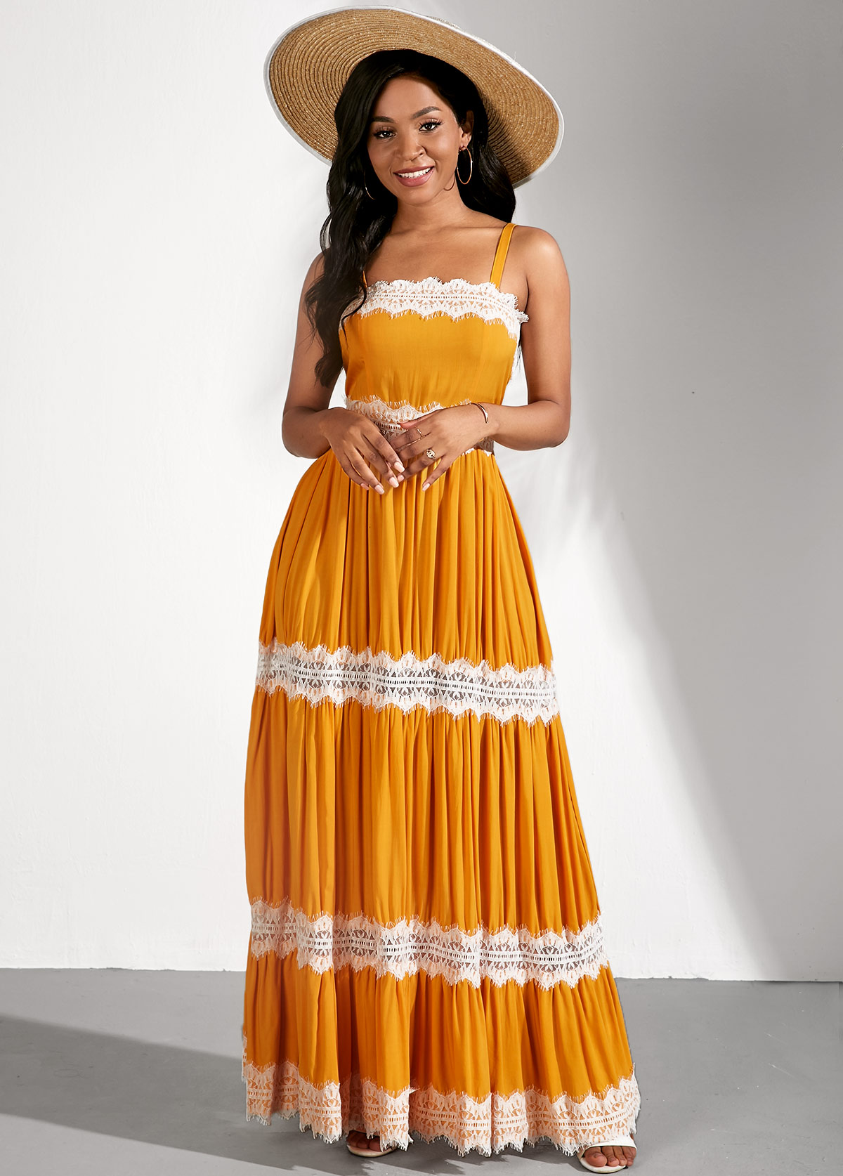 Sleeveless Lace Stitching Spaghetti Strap Yellow Dress