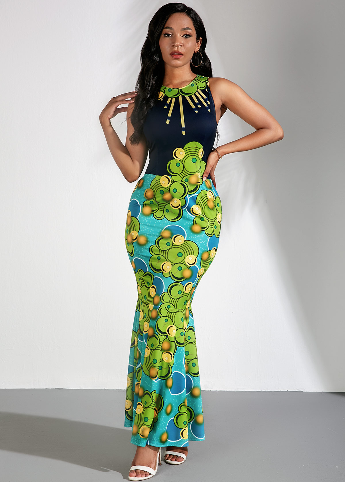 Tribal Print Sleeveless Maxi Mermaid Dress