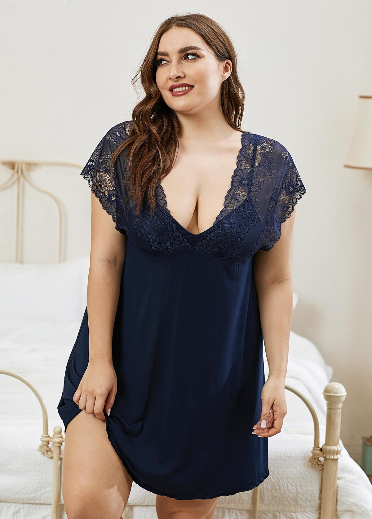 Plus Size Lace Panel Navy Blue Nightdress