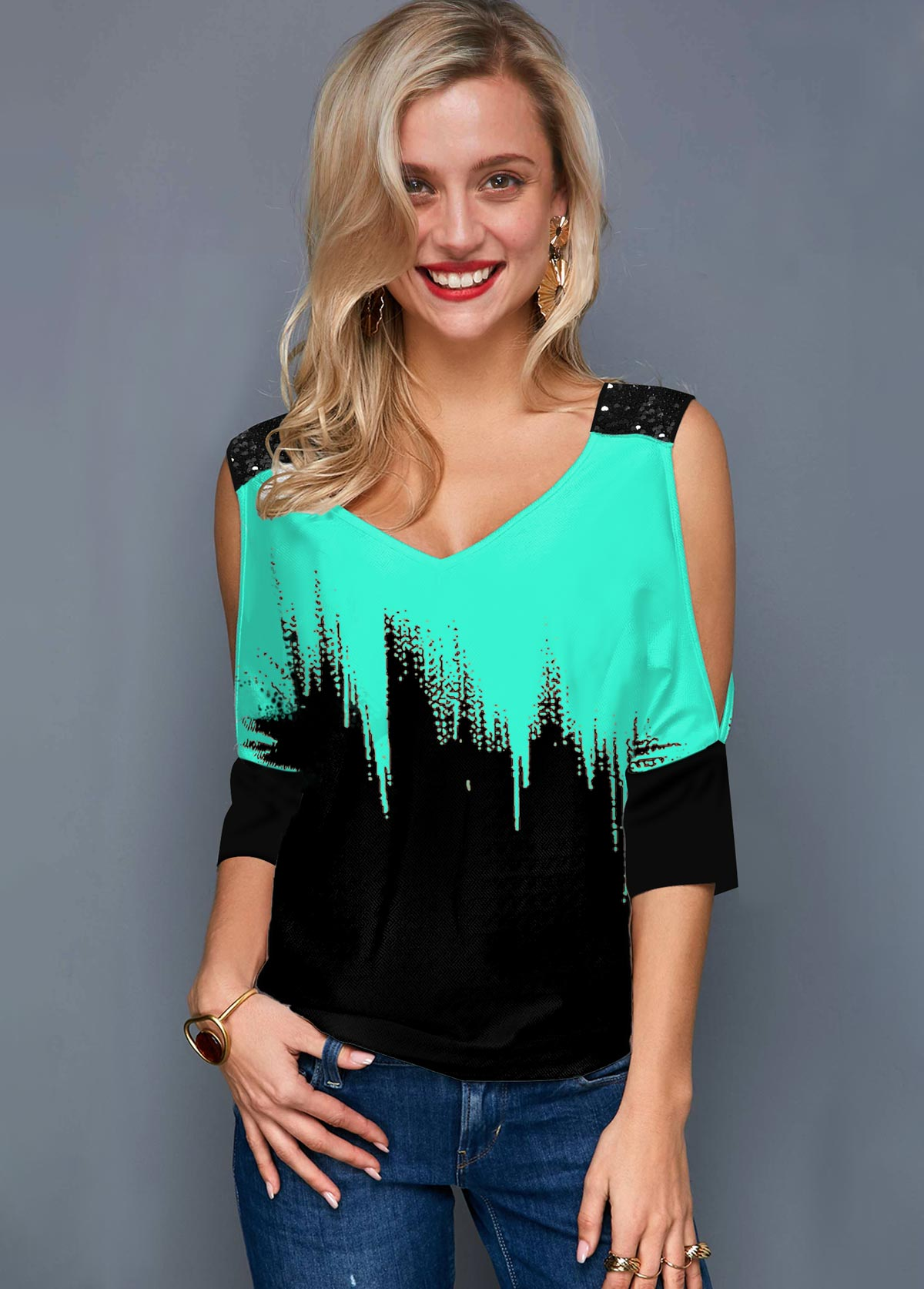 Cold Shoulder Printed V Neck Mint Green T Shirt
