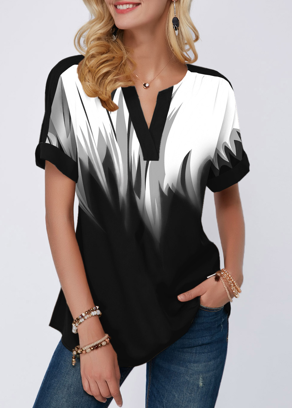 Gradient Split Neck Short Sleeve Blouse