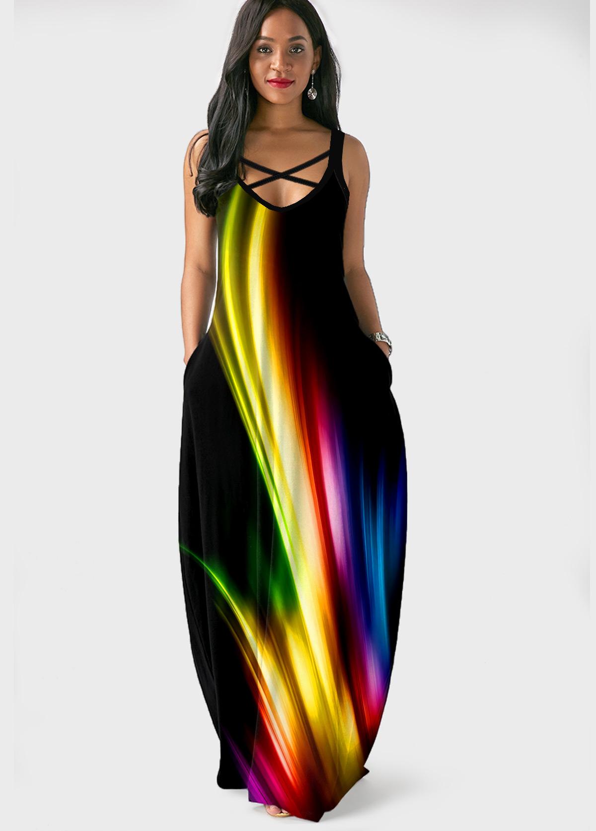 Printed Side Pocket Spaghetti Strap Maxi Dress
