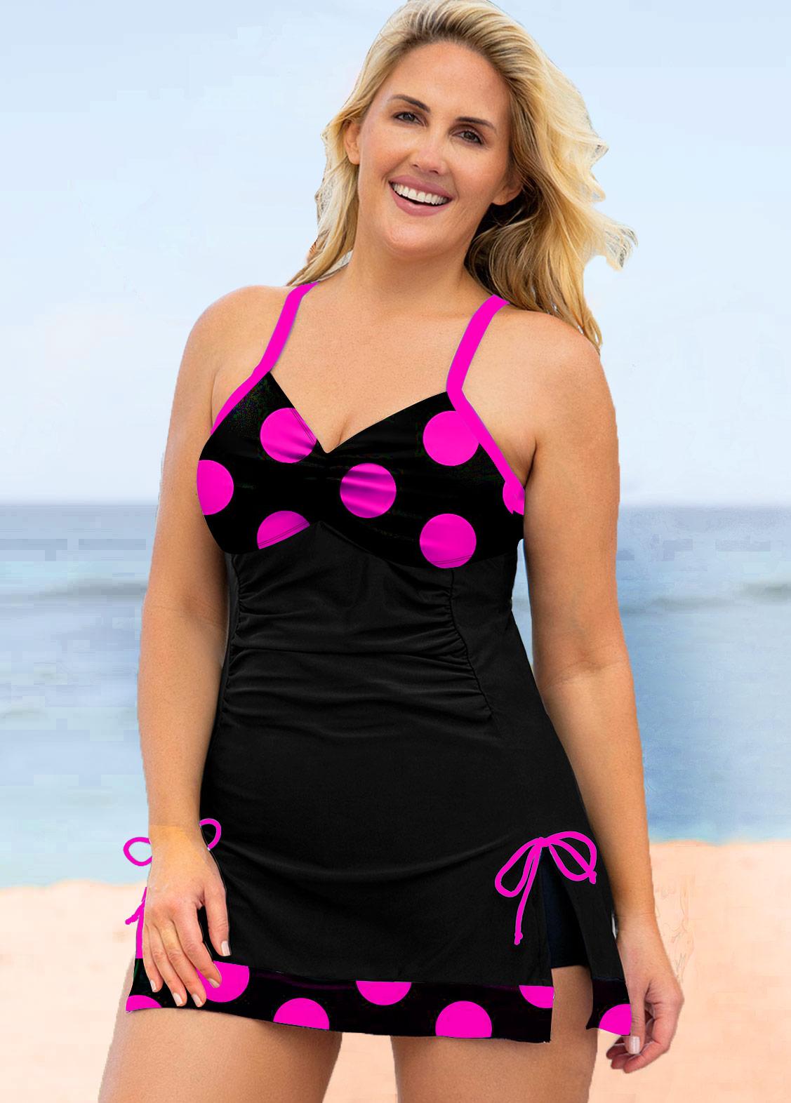 Plus Size Bowknot Polka Dot Swimwear Top