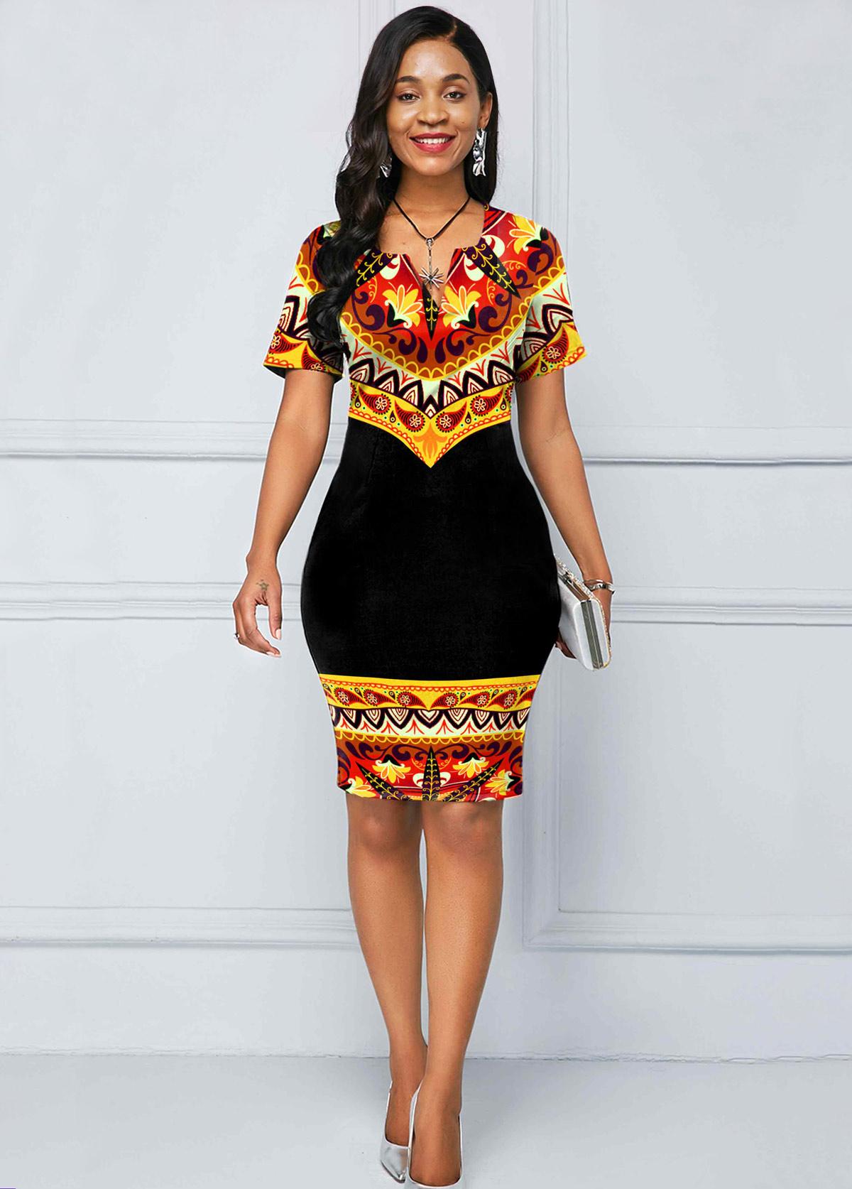 Tribal Print Split Neck Short Sleeve Dress
