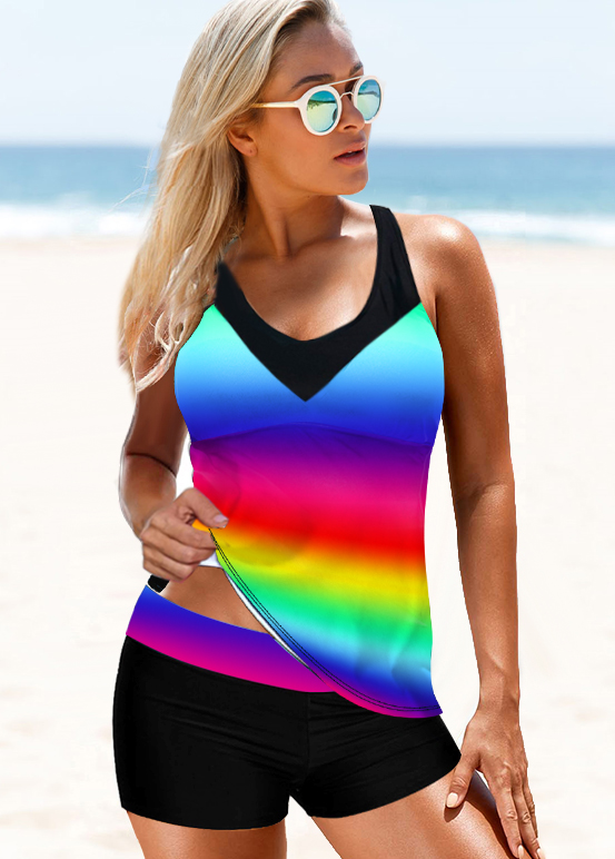 Tie Dye Print Rainbow Color Strappy Back Tankini Set
