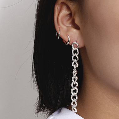 Ring Shape 5 Pieces Silver Metal Earring Set