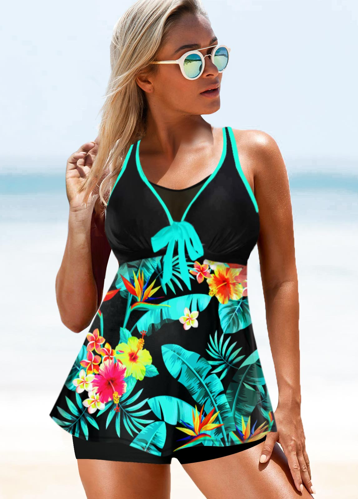 Tropical Print Double Strap Bowknot Swimwear Top