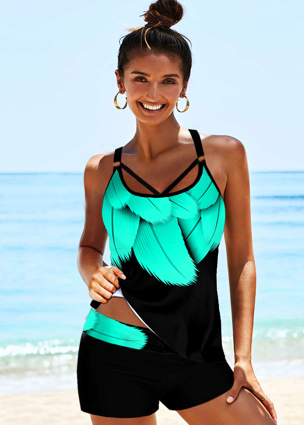 Printed Strappy Back Mint Green Tankini Set