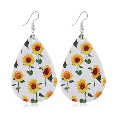 Sunflower Print Leather White Earring Set